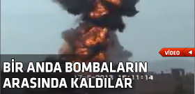 Hava bombardman otomobilde yakalad