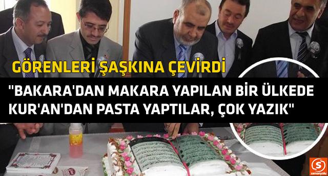 Kur'an-ı Kerim tasarımlı pasta yaptılar, ardından kesip yediler