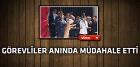 Başbakan Davutoğlu açılış yaparken ipi kopardı