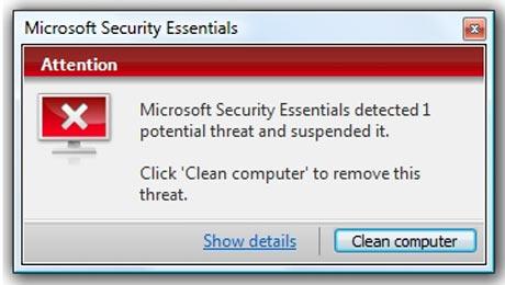 Error microsoft security essentials