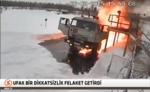 Akaryakıt dolu tanker bomba gibi patladı! -video