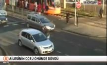 Kırmızı ışıkta durmayan sürücü özür yerine yumruk attı -video