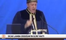 Erdoğan konuşurken elini yaktı -video