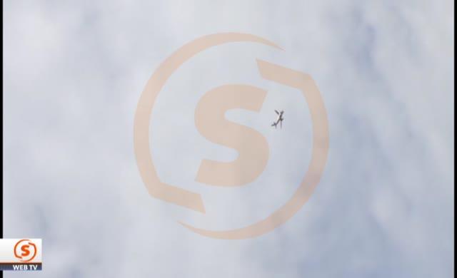 Motoru alev alan uçağın ilk görüntüleri